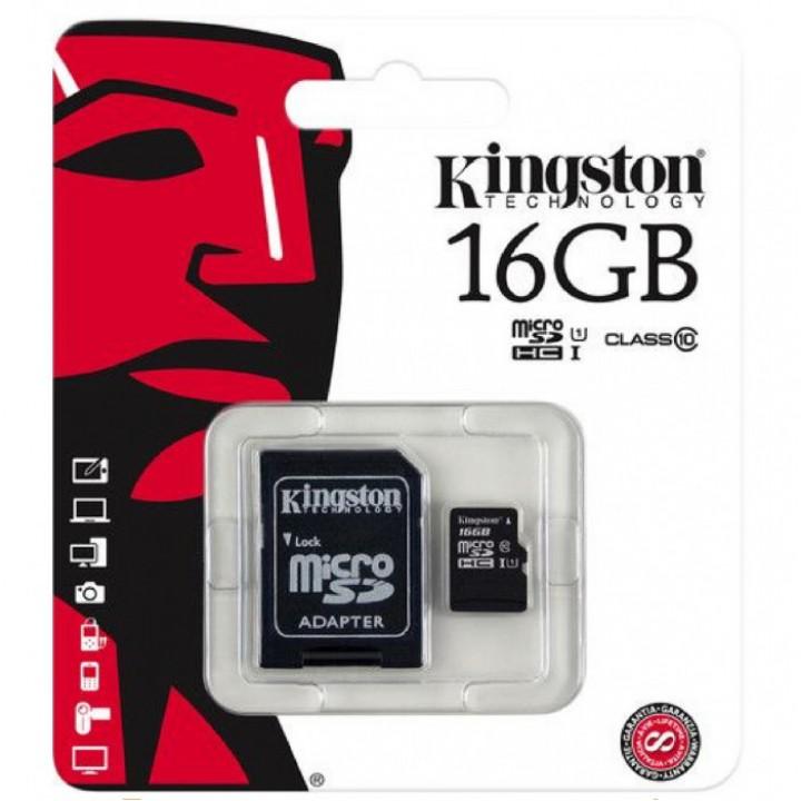 Карта памяти MicroSD Kingston 16Gb + адаптер 10 class original microSD