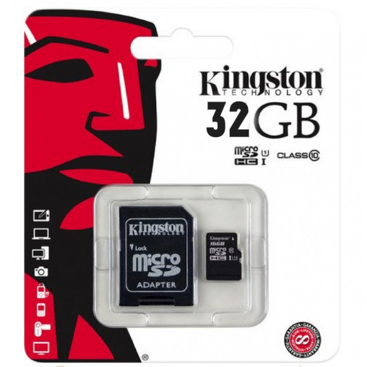 Карта памяти MicroSD Kingston 32Gb + адаптер 10 class original microSD